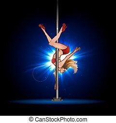 meisje, pylon., dancing