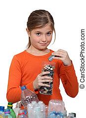 meisje, recycling, batterijen
