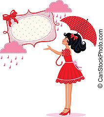 meisje, regen