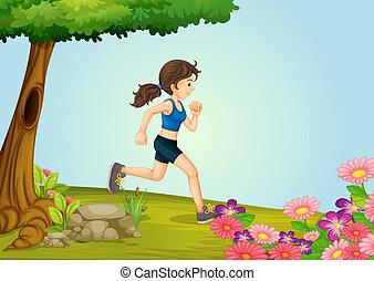 meisje, rennende