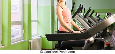 meisje, rennende , treadmill., fitness