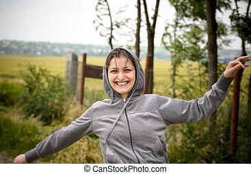 meisje, rennende , vrolijke
