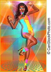meisje, retro, club, uitrusting, dancing