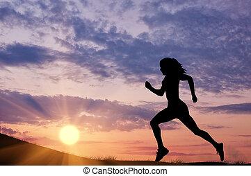 meisje, runner-up, silhouette