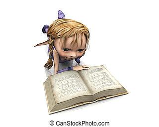 meisje, schattig, lezende , book., spotprent
