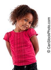 meisje, schattig, weinig; niet zo(veel), achtergrond, vrijstaand, witte , afrikaan, aziaat