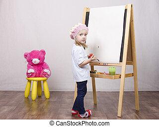 meisje, schildersezel, verlekkeert, beer, kunstenaar