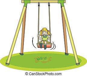 meisje, schommel, spelend, illustratie