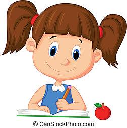 meisje, schrijvende , boek, schattig, spotprent