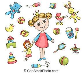 meisje, set, speelgoed