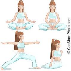 meisje, set, yoga houding