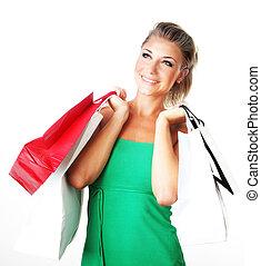 meisje, shoppen , vrolijke