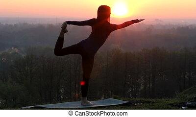 meisje, silhouette, dancing