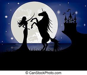 meisje, silhouette, eenhoorn