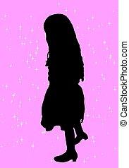meisje, silhouette