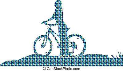 meisje, silhouette, fiets