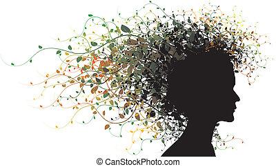meisje, silhouette, floral