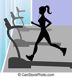 meisje, silhouette, jonge, rennende