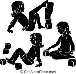 meisje, silhouette, speelgoed