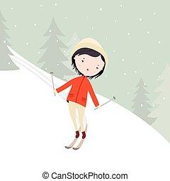 meisje, skien
