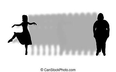 meisje, slank, silhouette, dik, beauty