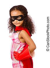 meisje, spelend, super held