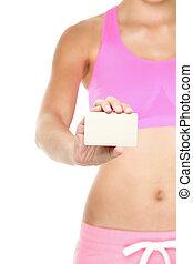meisje, sportende, zakelijk, uitrusting, fitness, kaart, het tonen