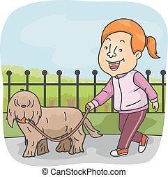meisje, sportief, lopende met hond