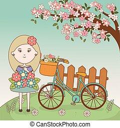 meisje, spotprent, fiets, boompje, bouquetten, bloemen