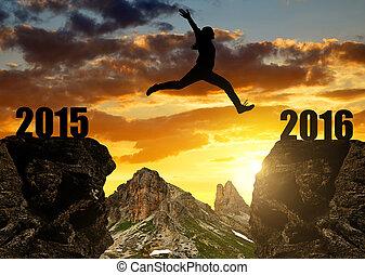 meisje, springt, om te, de, jaarwisseling, 2016