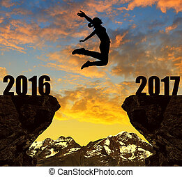 meisje, springt, om te, de, jaarwisseling, 2017