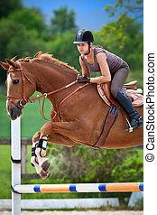 meisje, springt, paarde, jonge