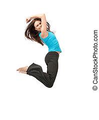 meisje, springt, sportief