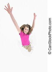 meisje, springt, vrijstaand, achtergrond, witte