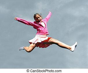 meisje, springt, vrolijke