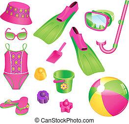 meisje, strand, accessoires