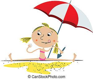 meisje, strand, spelend