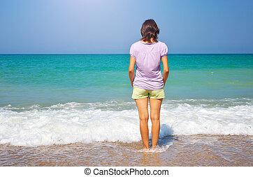 meisje, strand.