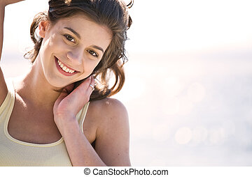 meisje, strand, vrolijke