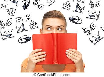 meisje, studerend , economie, en, financiën
