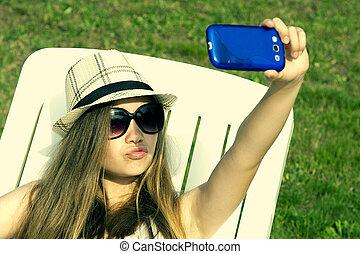 meisje, sunbathing