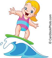 meisje, surfing