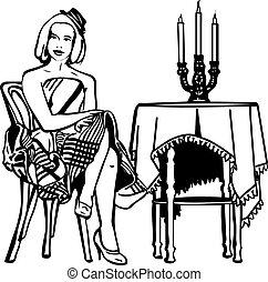 meisje, tafel, schets, kaarsjes