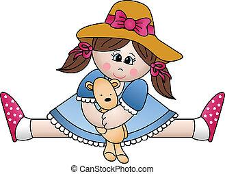 meisje, teddy beer, zittende