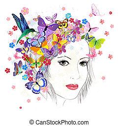 meisje, tekening, vlinder