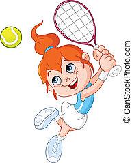 meisje, tennis