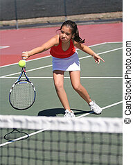 meisje, tennis, spelend