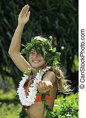 meisje, tiener, hula, danste, hawaiian