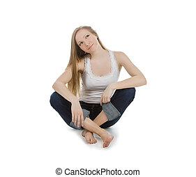 meisje, tiener, onbezorgd, helder, vrolijke , zittende , afbeelding, vloer