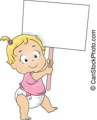 meisje, toddler, plank, vasthouden, leeg